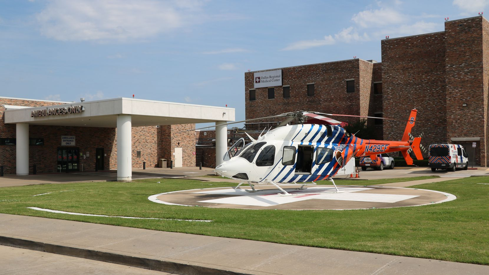 A helicopter rests on the landing pad at Dallas Regional Medical Center in Mesquite. The hospital recently was given an award by the American Heart Association for its stroke care.