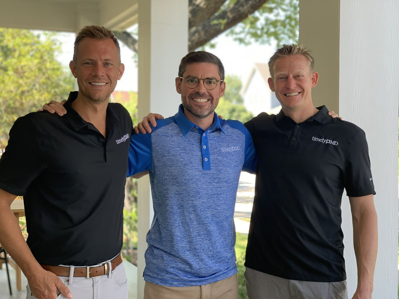 TimelyMD founders Chris Clark (left), Luke Hejl (center) and Alan Dennington (right). Clark serves as chief strategy officer, Hejl is CEO and Dennington is chief medical officer.