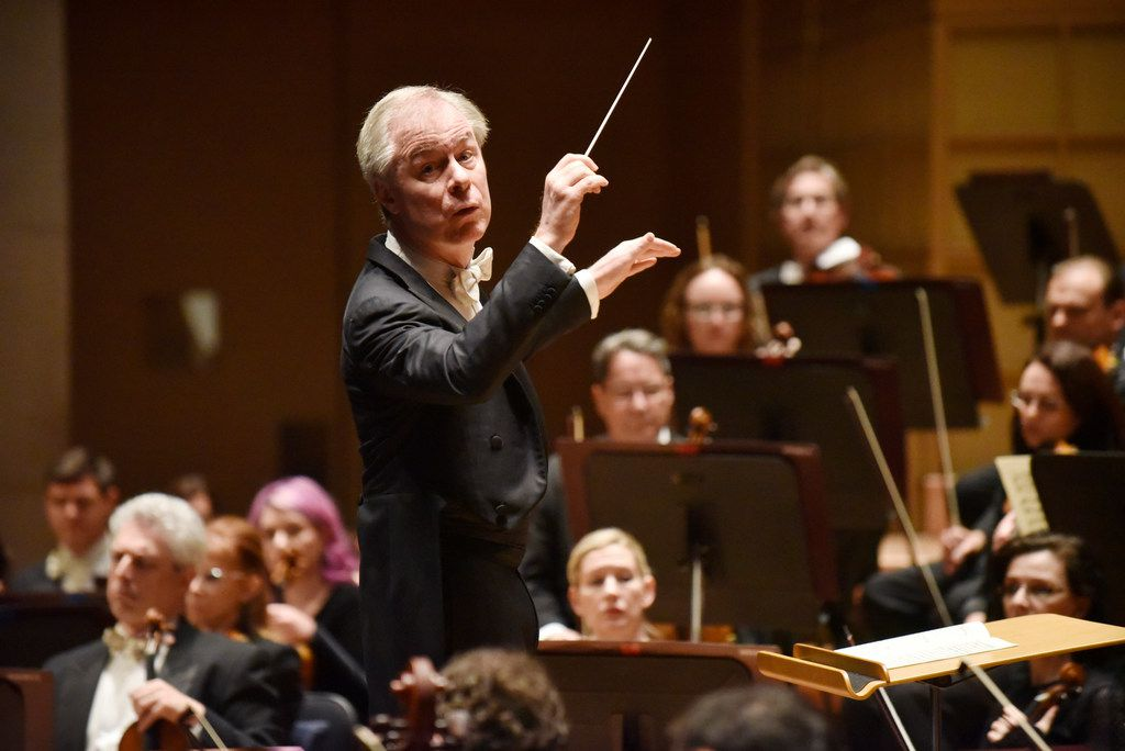 David Robertson conducts the Dallas Symphony Orchestra during a performance of Stravinsky's Fireworks (Feu d'artifice), Op. 4, on April 25, 2019 at the Morton H. Meyerson Symphony Center in Dallas.