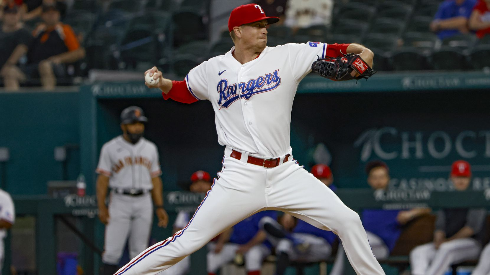 Texas Rangers starting pitcher Kyle Gibson (44) pitches during the first inning at Globe Life Field in Arlington, Texas, in Dallas on Wednesday, June 9, 2021. (Lynda M. González/The Dallas Morning News)