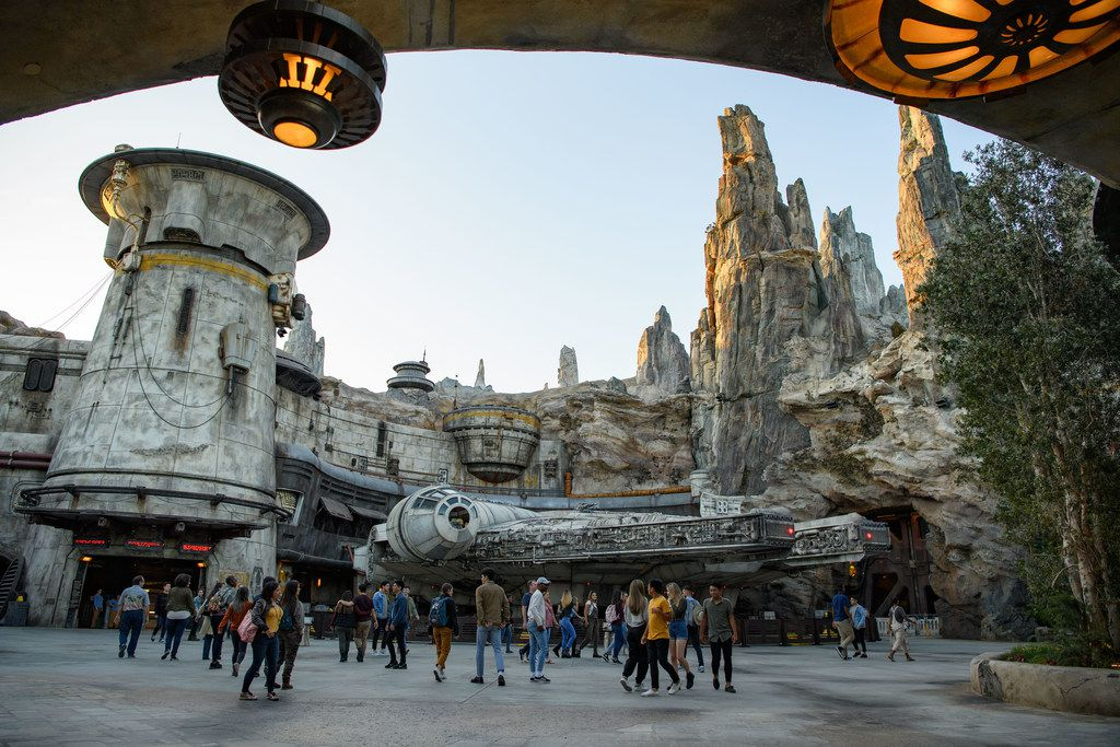 The Star Wars: Galaxy's Edge expansion lets Disneyland parkgoers visit the Millennium Falcon and other spots from the Star Wars movie universe.