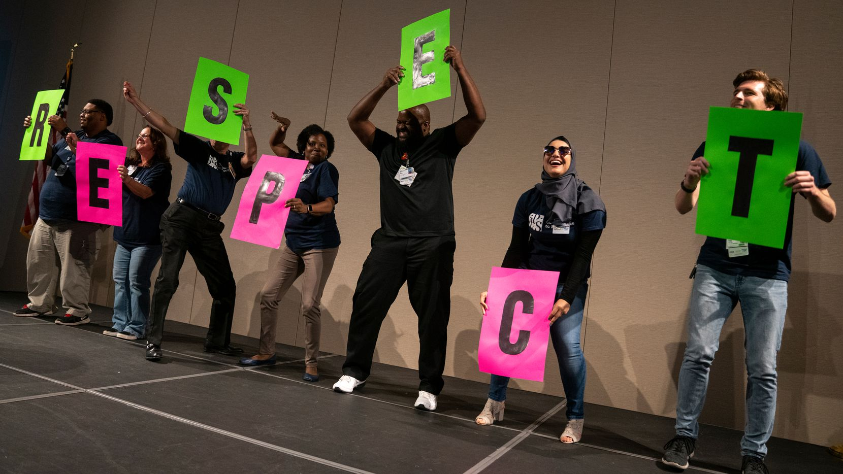 At JPS Health Network's Ambassador Development Institute, workers are nominated as JPS ambassadors help communicate messages throughout the year. At this Ambassador gathering, which focused on diversity in the workplace, ambassadors were asked to perform a skit on the topic.