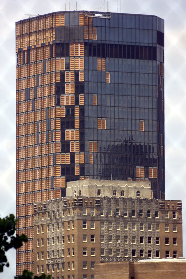 The boarded up Bank One tower in downtown Fort Worth was nicknamed the Plank One Tower before the redo.