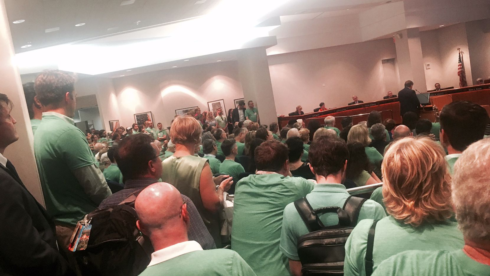 """More than 200 people clad in green shirts with the slogan """"#CanYouDigIt"""" showed up to DART in August 2016 to support making a new downtown rail line a subway."""