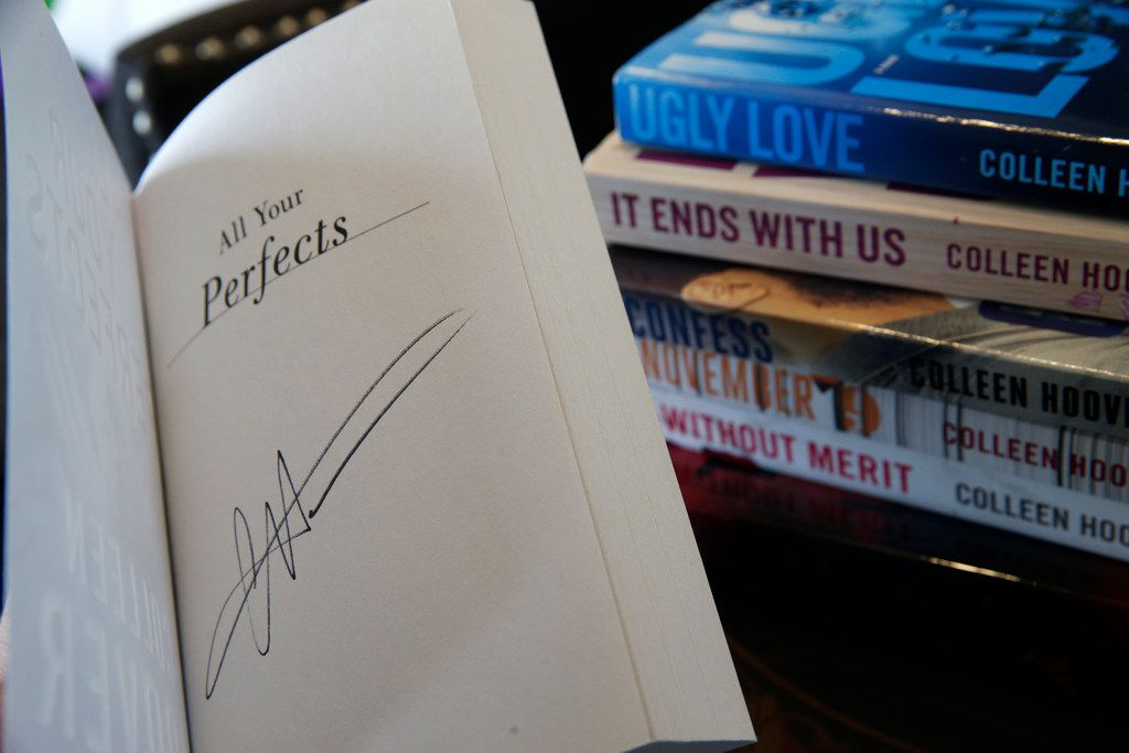 A signed copy of All Your Perfects by Colleen Hoover at her bookstore  in Sulphur Springs, Texas.