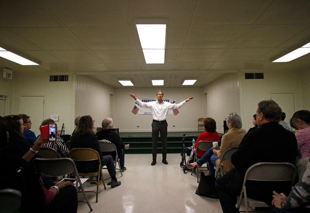 U.S. Congressman Beto O'Rourke gives a speech at Brandon Community Center in Lufkin on Feb. 9, 2018. O'Rourke is running for the U.S. Senate.