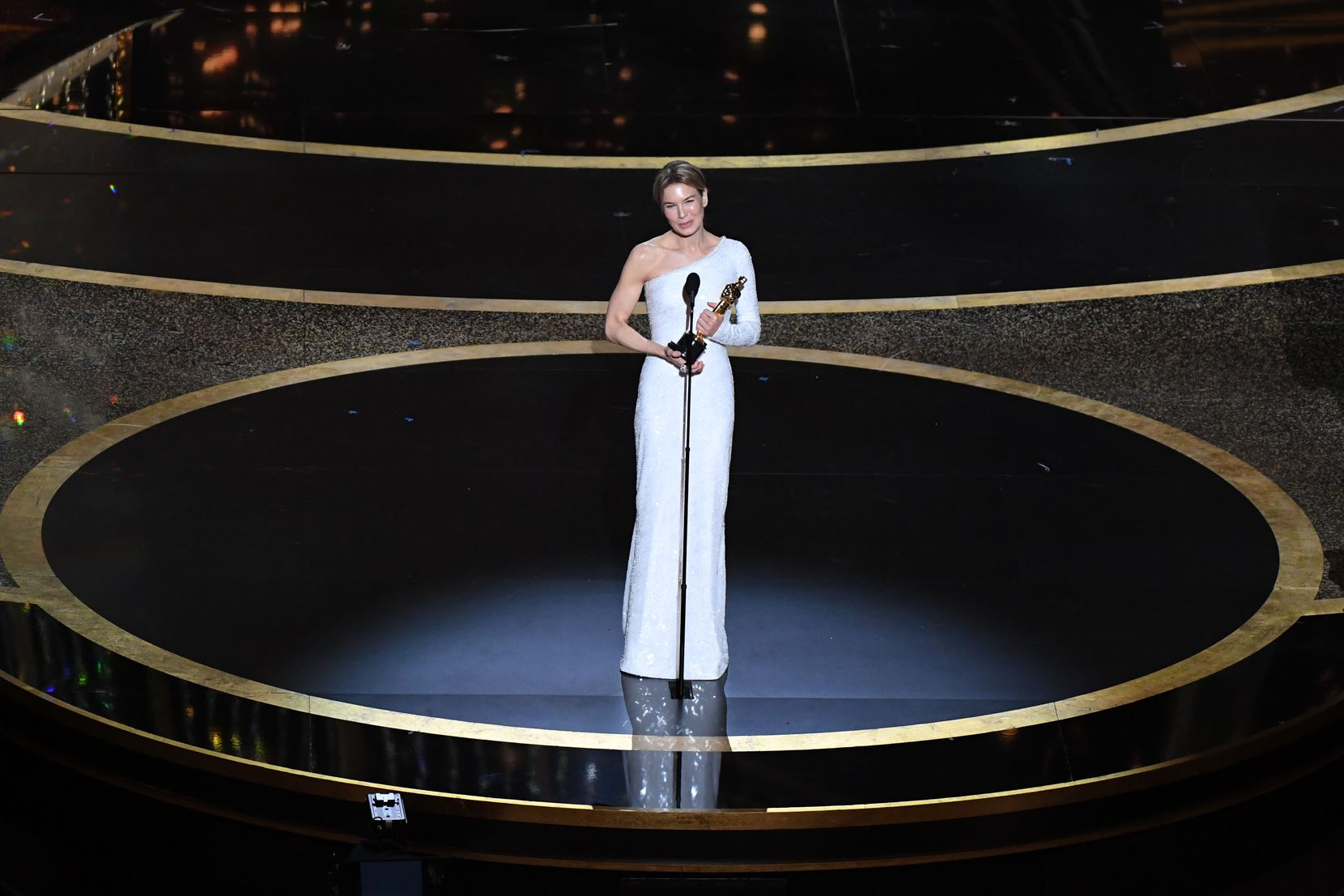 "Renée Zellweger accepts the award for Best Actress in a Leading Role for ""Judy"" during the 92nd Oscars at the Dolby Theatre in Hollywood, California on February 9, 2020."