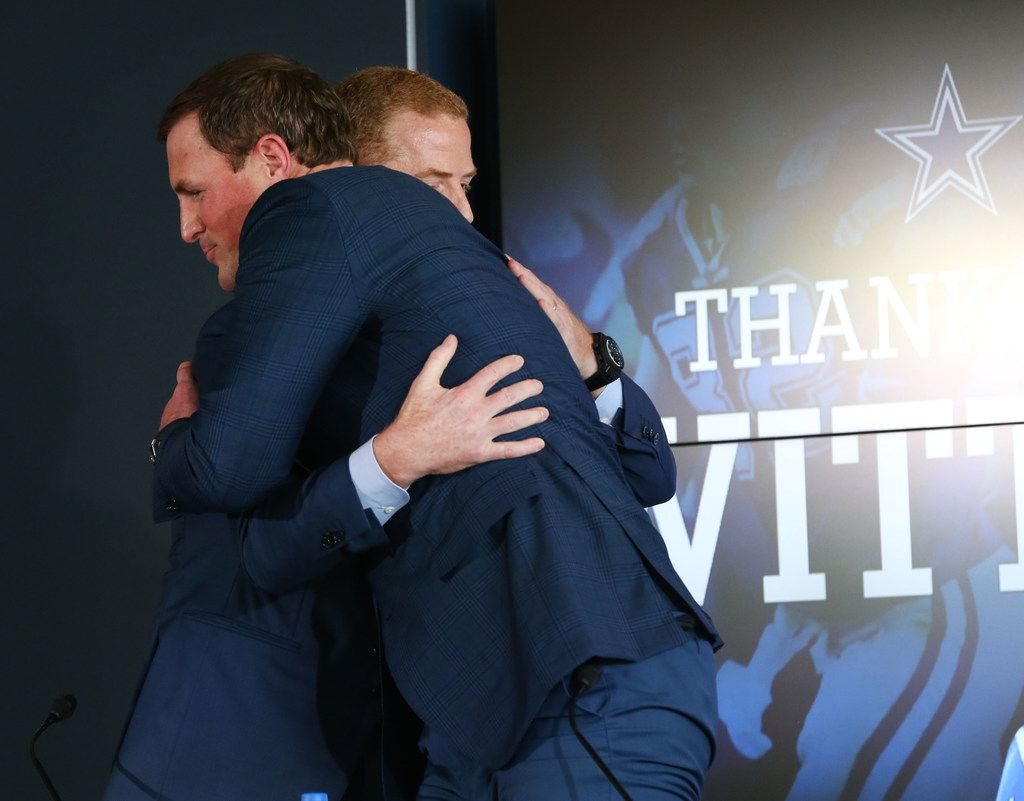 Dallas Cowboys head coach Jason Garrett hugs Dallas Cowboys tight end Jason Witten after Witten announced his retirement from the NFL during a news conference at The Star in Frisco, Texas on Thursday, May 3, 2018. (Rose Baca/The Dallas Morning News)