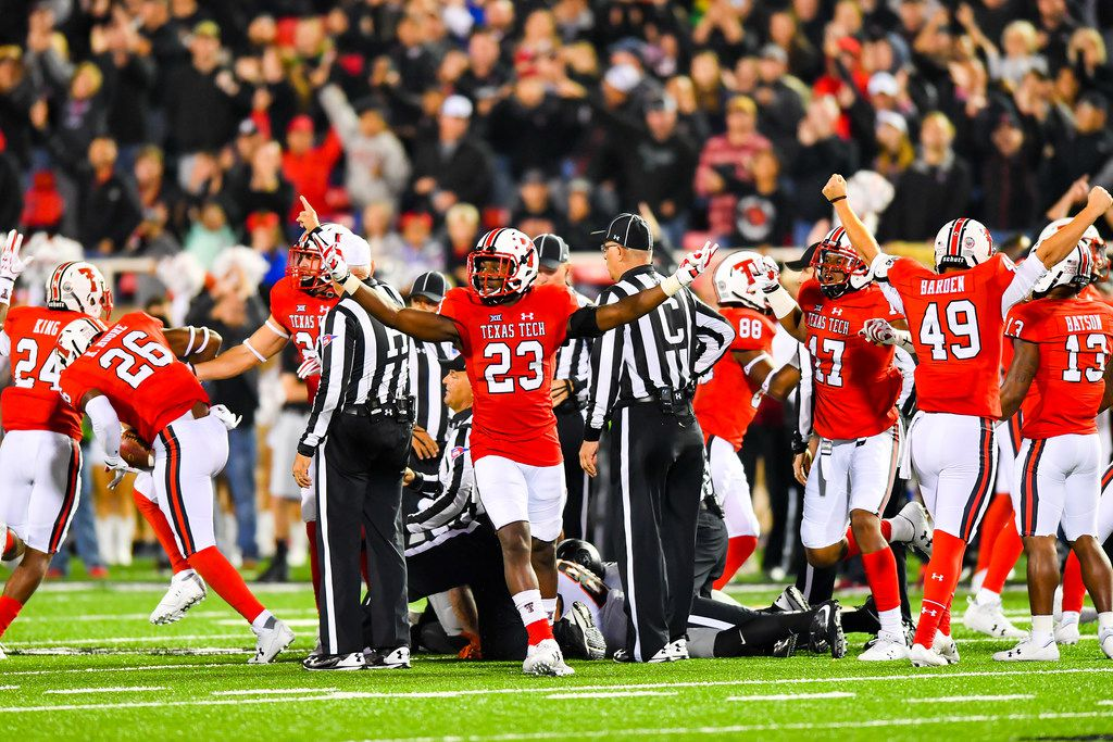 FILE - Texas Tech defensive back DaMarcus Fields (23) reacts to an onside kick recovery during a game against Oklahoma State on Sept. 30, 2017, at Jones AT&T Stadium in Lubbock. (Photo by John Weast/Getty Images)