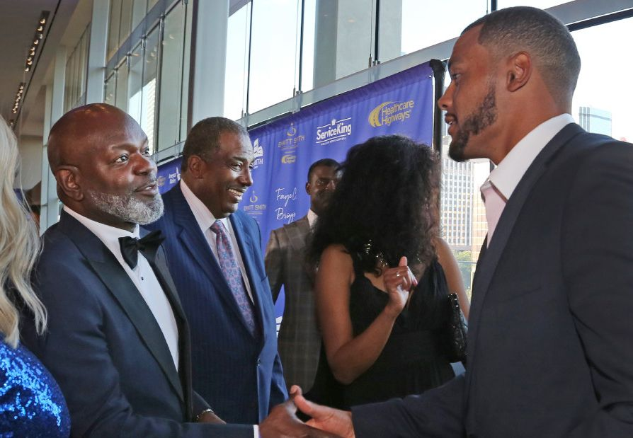 Dallas Cowboys legendary running back Emmitt Smith shakes hands with quarterback Dak Prescott on the red carpet before the start of the 8th Annual Emmitt Smith Celebrity Invitational Golf Tournament and Gala, held at the Dallas Omni Hotel in downtown Dallas on Friday, May 12, 2017.