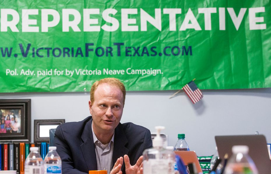 John Turner, who is running for representative in District 114, talks during an interview at Victoria Neave's campaign headquarters in Dallas on Sept. 2, 2018.