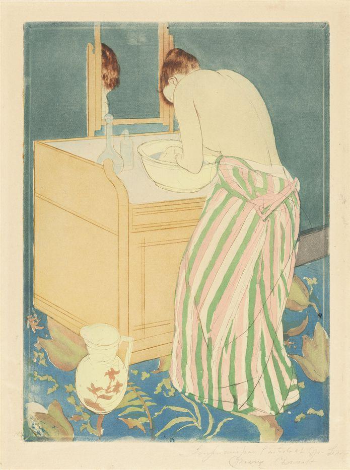 Mary Cassatt, Woman Bathing, drypoint and aquatint, National Gallery of Art, Washington, Gift of Mrs. Lessing J. Rosenwald