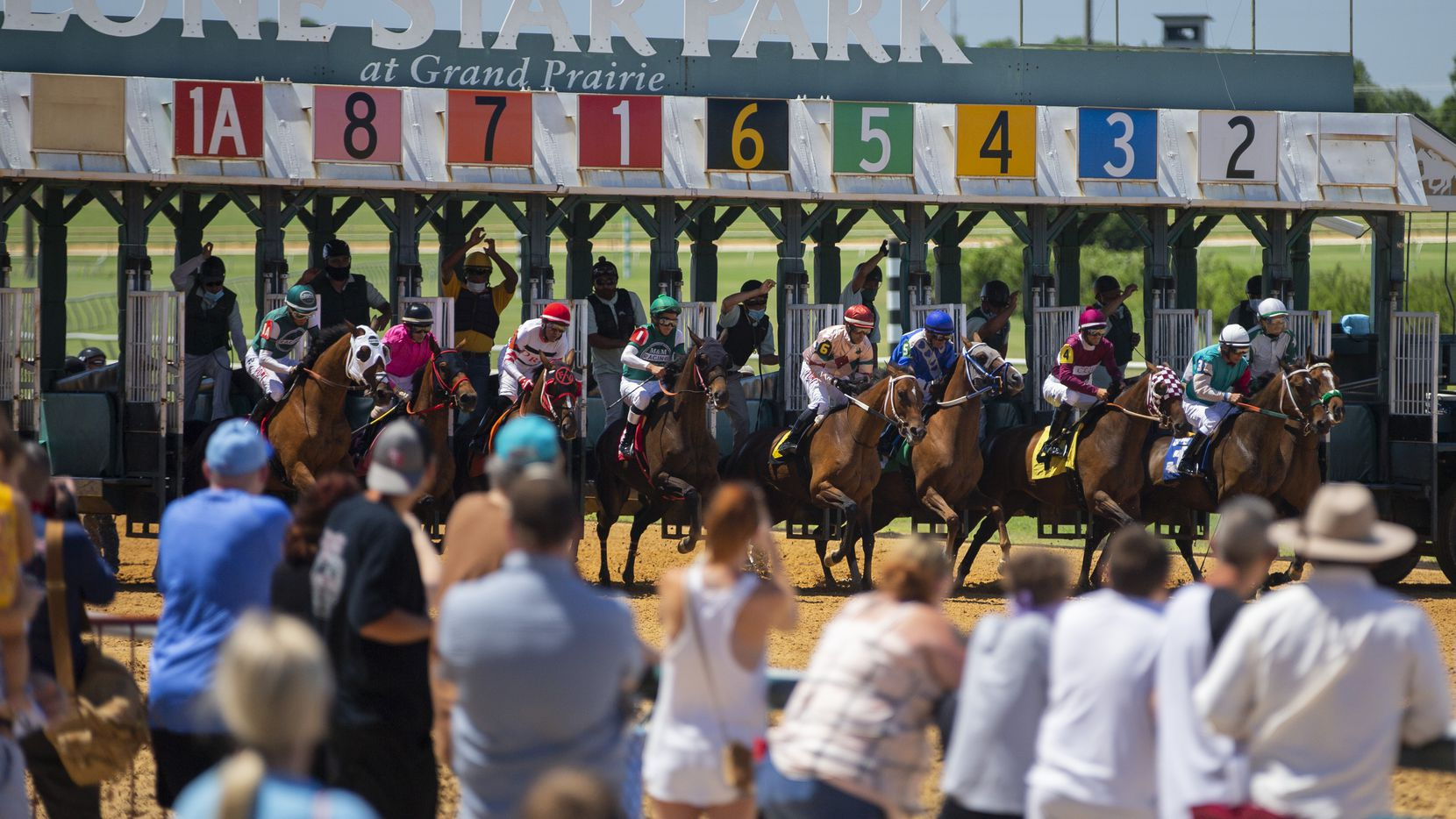 """Fans look on during the start of a """"Claiming"""" race at Lone Star Park in Grand Prairie, Sunday, June 14, 2020."""