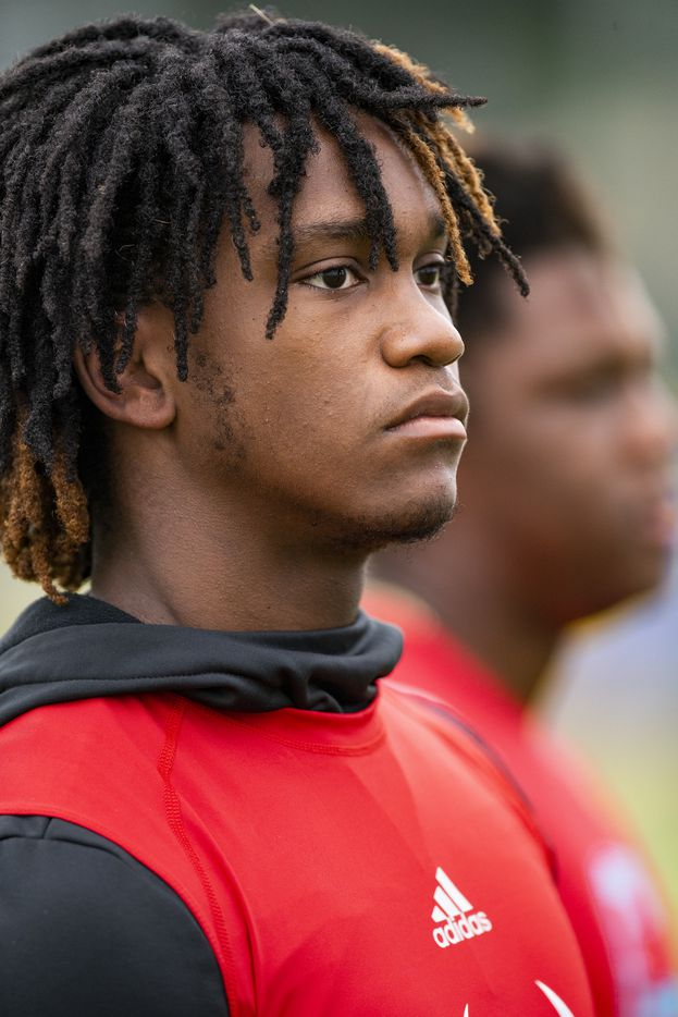 Carter senior linebacker Janari Hyder looks on during the first day of football practice at Carter High School in Dallas, Monday, August 2, 2021. (Brandon Wade/Special Contributor)
