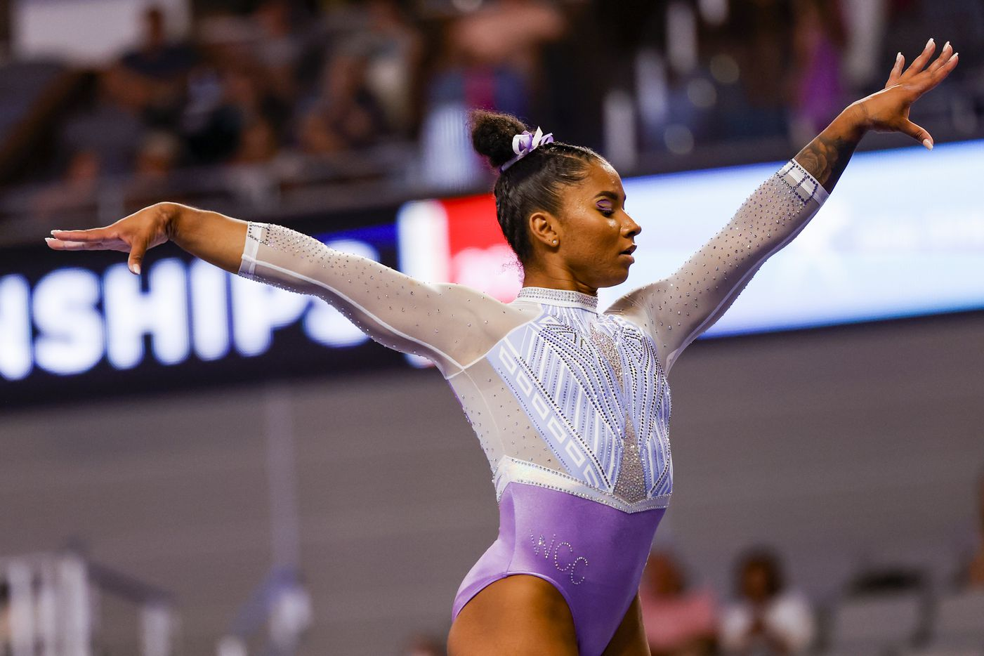 Jordan Chiles performs on the balance beam during day 1 of the senior women's US gymnastics championships on Friday, June 4, 2021, at Dickies Arena in Fort Worth. (Juan Figueroa/The Dallas Morning News)
