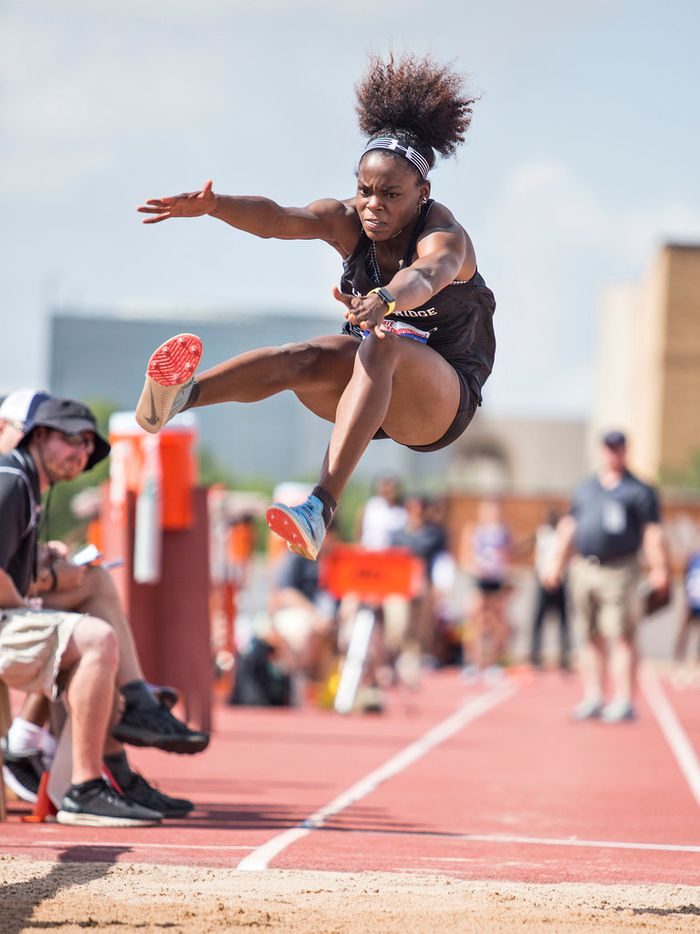 Mansfield Lake Ridge's Jasmine Moore competes in the Girls 5A Long Jump during the UIL state track meet at the Mike A. Myers Stadium, at the University of Texas on May 11, 2018 in Austin, Texas. (Thao Nguyen/Special Contributor)