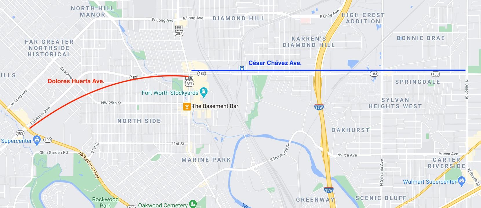 La carretera 183, en Fort Worth, tendrá los nombres de Dolores Huerta y César Chávez. En la imagen, los tramos que abarca el cambio.