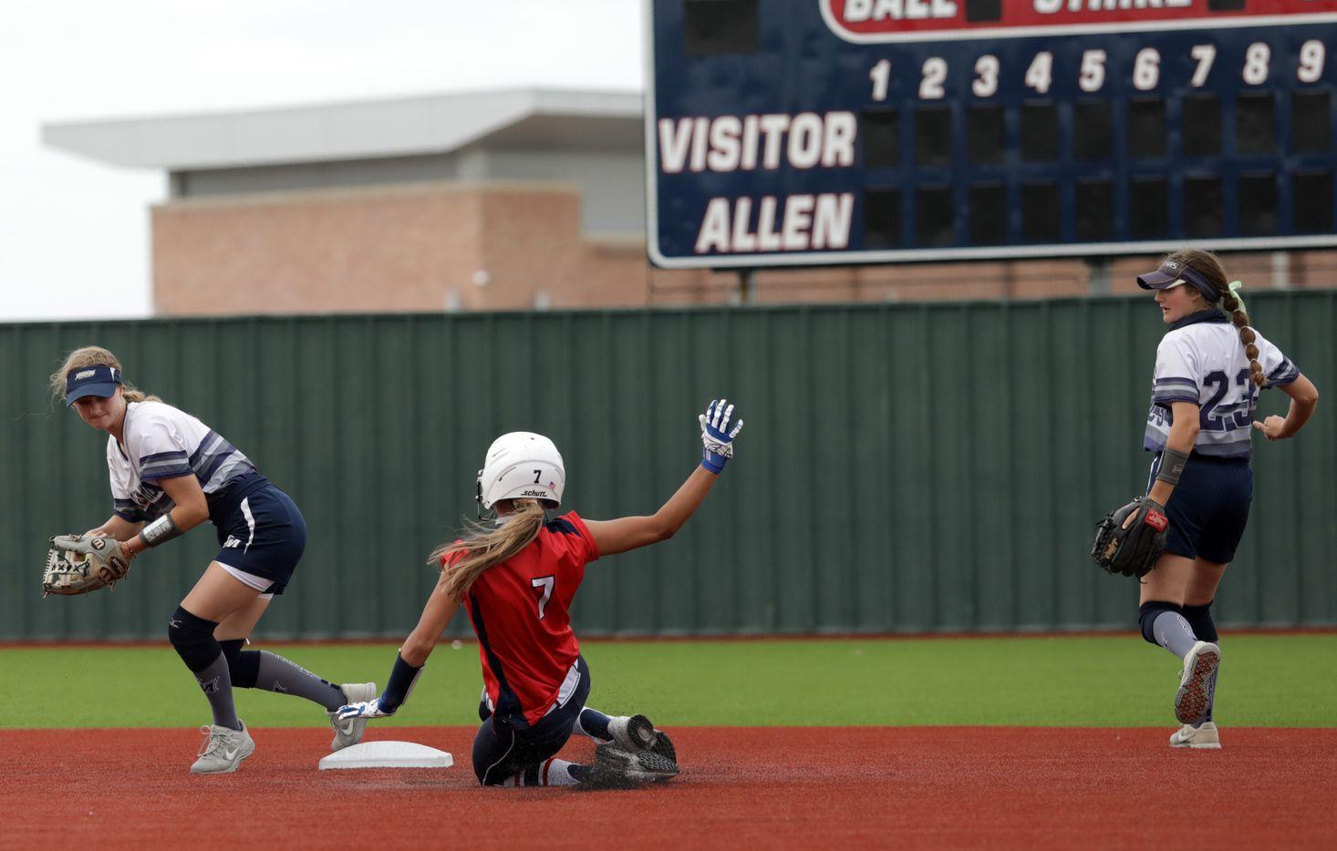 Flower Mound High School player #6, McKenna Andrews, stops Allen High School player #7, Chloe Schimmel, from taking second base during a softball playoff game at Allen High School in Allen, TX, on May 15, 2021. (Jason Janik/Special Contributor)