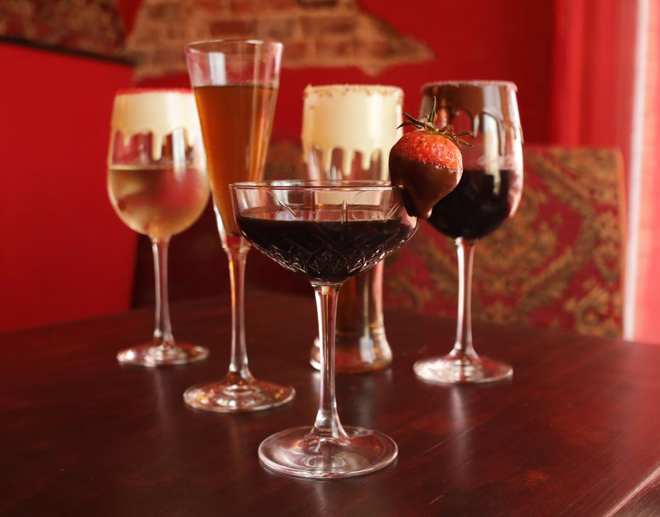 The drink 'that got everything started,' no pun intended, is the Original Choco-Cab, says franchisee Derrick Miller — a glass of cabernet sauvignon served in a glass with semi-sweet chocolate on the rim.  The drinks list is long and includes all kinds of naughty names.