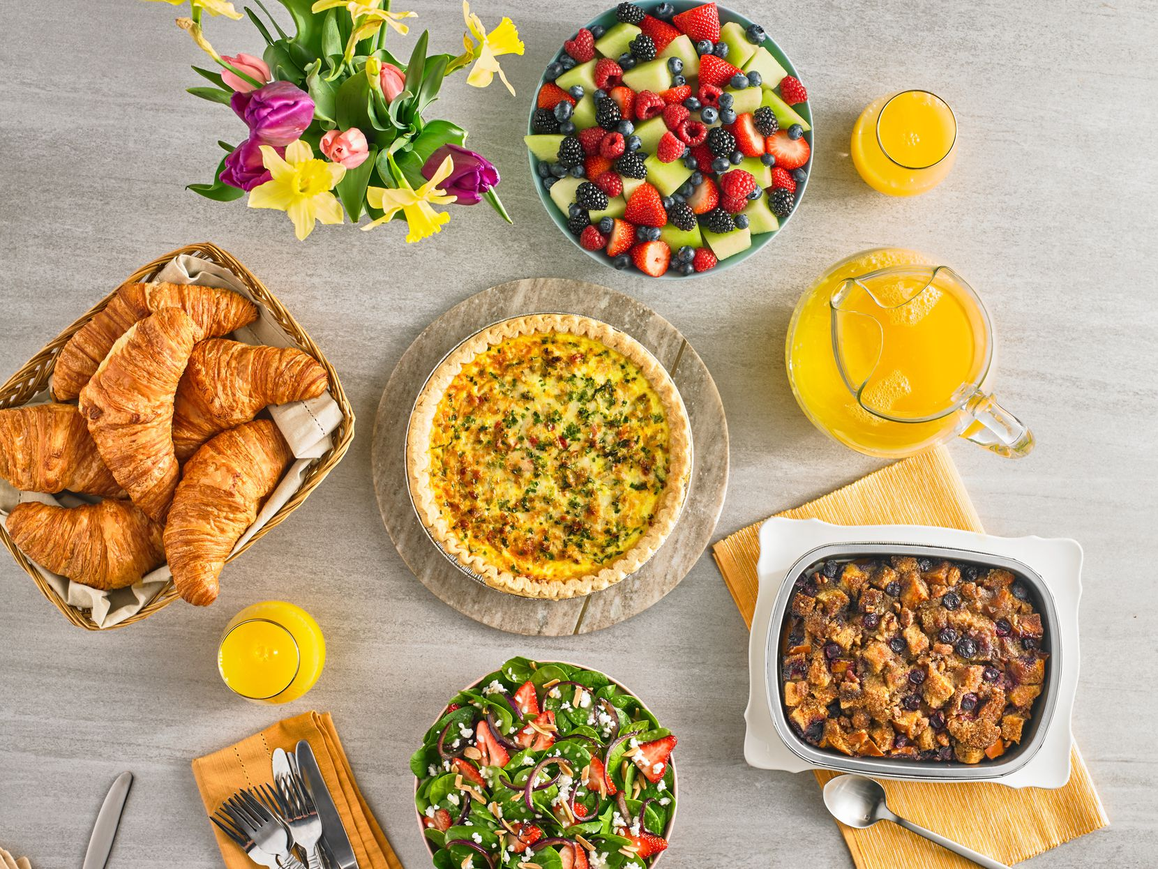 Central Market offers an Easter brunch meal bundle this year that includes Italian sausage and arugula quiche, spinach and strawberry family salad, berries and melon, French butter croissants, orange juice and challah French toast casserole.