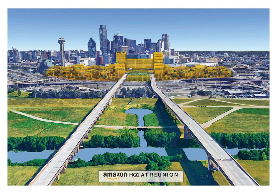 A 50-acre site in downtown Dallas for Amazon HQ2 that would incorporate plans for a Dallas-to-Houston bullet train.