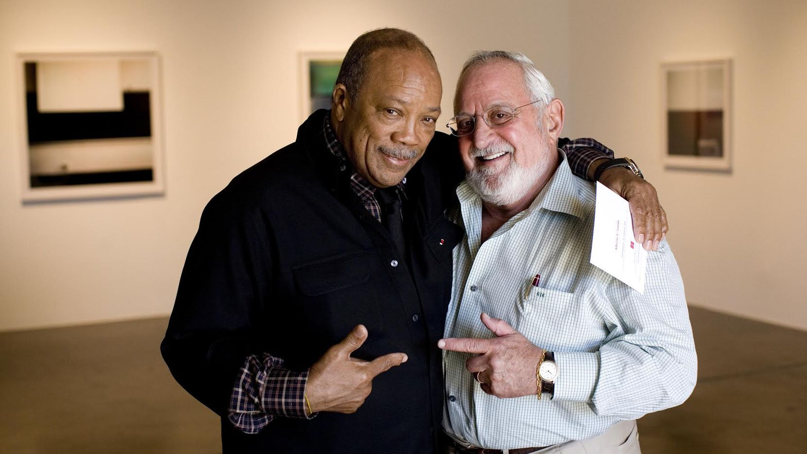 Quincy Jones and Dr. Bob at the Barry Whistler Gallery in early October 2008, when Jones was in Dallas for the Tate Lecture Series at SMU. The pediatrician was on the board of the Quincy Jones Foundation.
