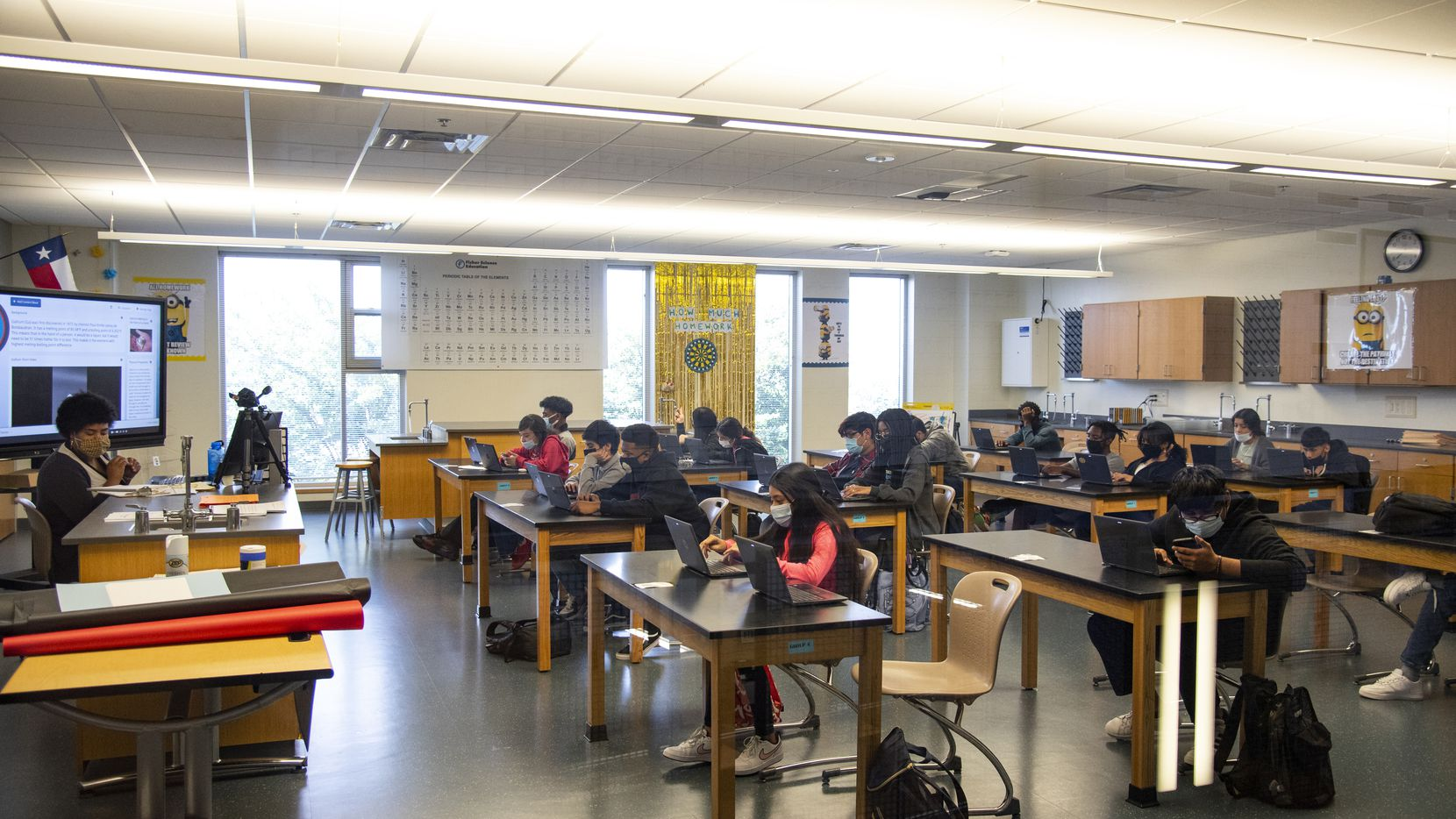 Students participate in an AP Chemistry class at Kathlyn Joy Gilliam Collegiate Academy on Tuesday, September 21, 2021 in Dallas, Texas. (Emil Lippe/Special Contributor)