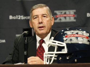 FILE — Big 12 Conference Commissioner Bob Bowlsby addresses the media at the beginning of the Big 12 Conference Football Media Days, Monday, July 22, 2013 in Dallas.