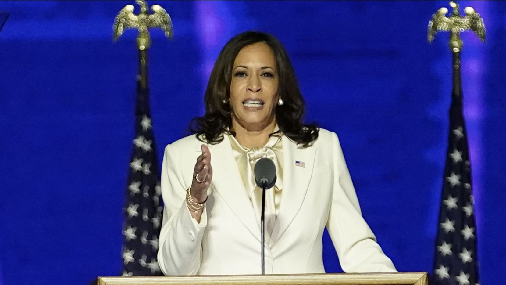 Vice President-elect Kamala Harris delivered remarks in Wilmington, Del., on Nov. 7.