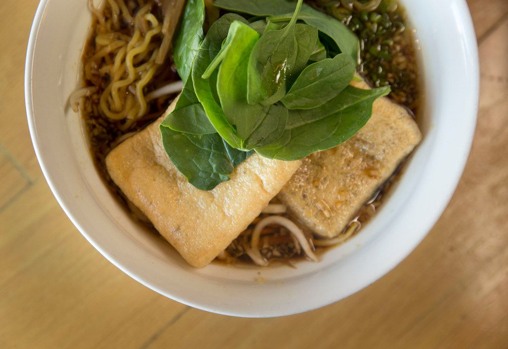Veggie shoyu ramen with fried tofu skins at Ichigoh Ramen Lounge, a new Dallas restaurant operating as a popup in the Tanoshii ramen space