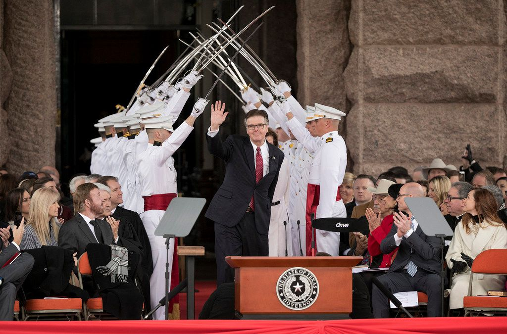 Lt. Gov. Dan Patrick arrives at the oath of office ceremony on Inauguration Day at the Capitol on Tuesday Jan. 15, 2019.