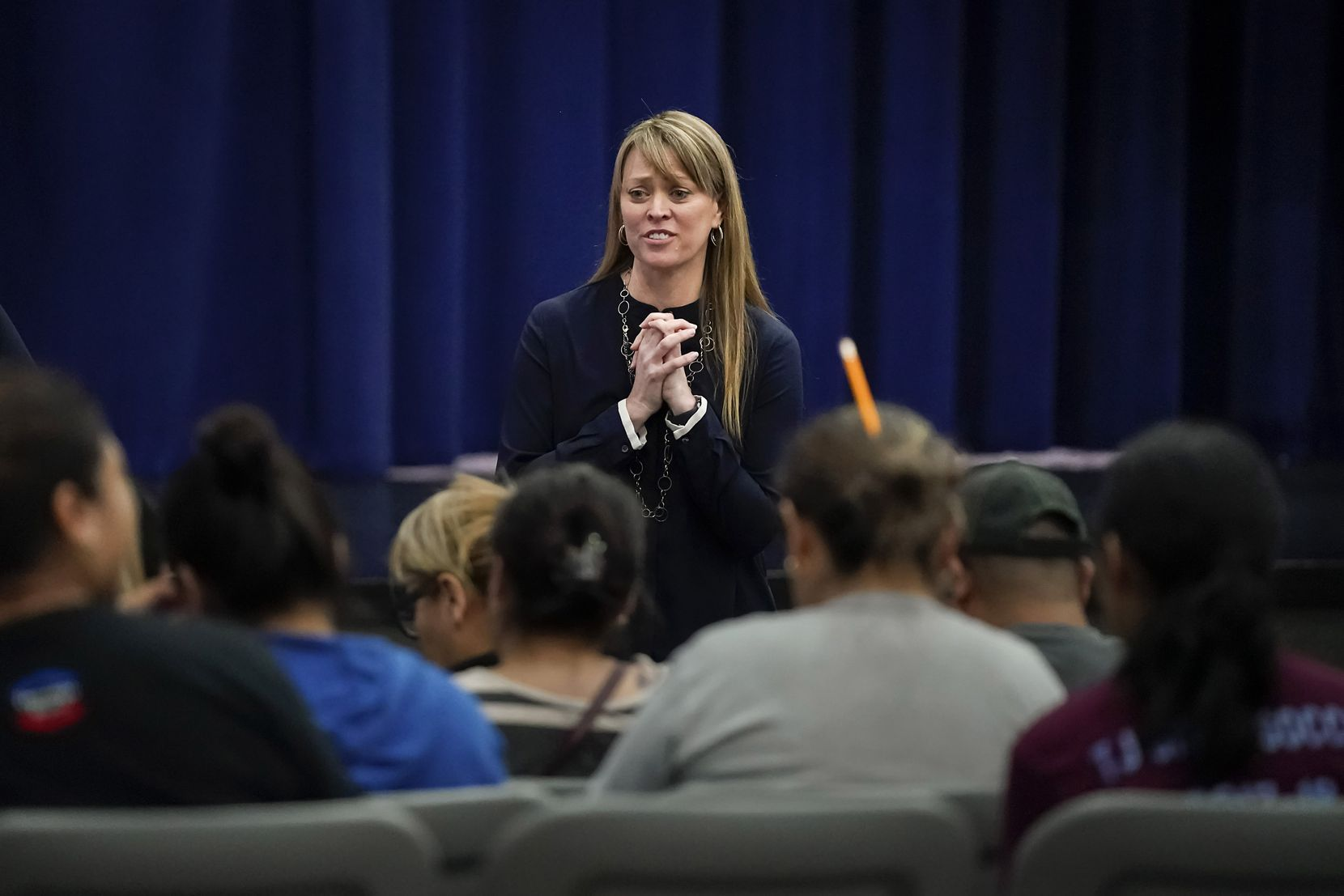 Principal Sandi Massey met with concerned parents for almost an hour Tuesday after the initial community meeting about plans for the renovated Thomas Jefferson campus after the Oct. 20 tornado.