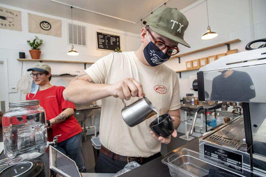 Noah Irby, right, and Trevin Willison opened Wayward Coffee on West Davis Street in Oak Cliff.