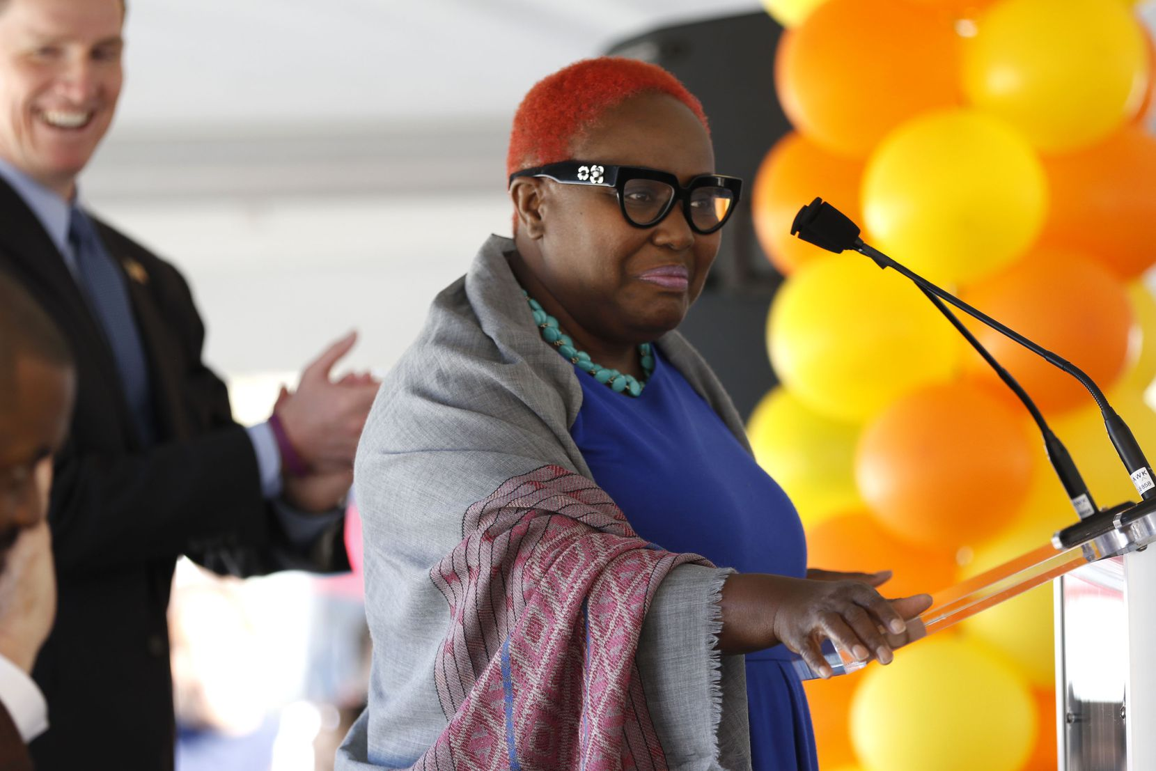 Former Dallas City Council member Carolyn Davis speaks during the opening celebration of CitySquare Opportunity Center in South Dallas on Nov. 6, 2014.