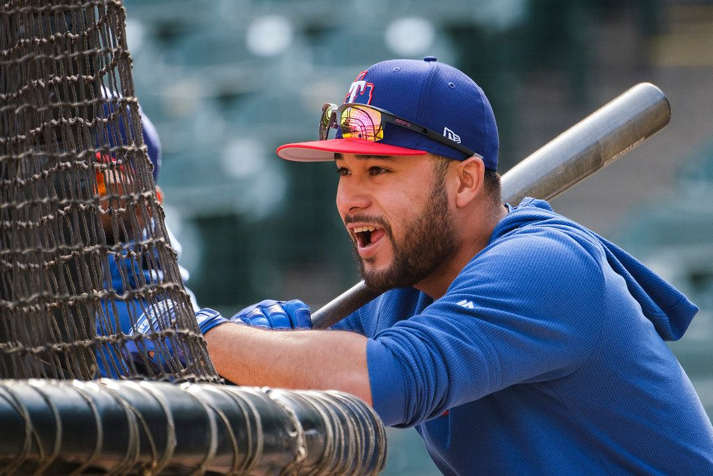 Texas Rangers catcher/infielder Isiah Kiner-Falefa waits between turns in the batting cage before a game against the Houston Astros at Globe Life Park on Tuesday, April 2, 2019, in Arlington. (Smiley N. Pool/The Dallas Morning News)