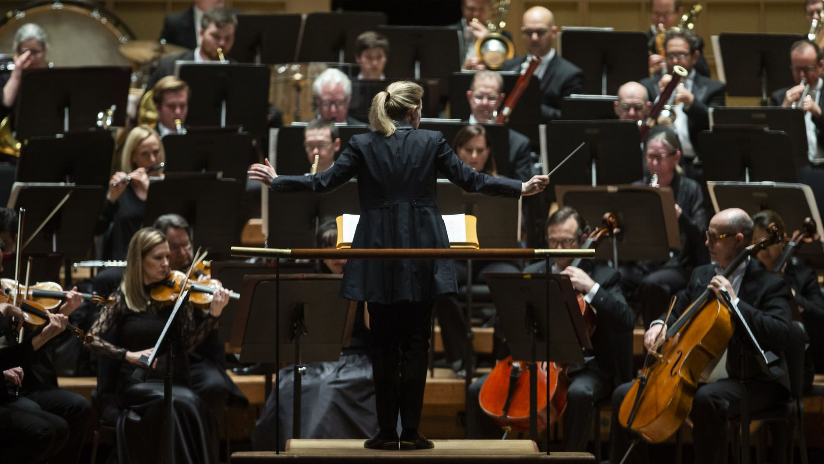 Principal guest conductor Gemma New leads the Dallas Symphony Orchestra at the Meyerson Symphony Center in Dallas on Friday, March 6, 2020.