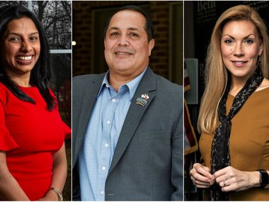 Sunny Chaparala (left), Desi Maes and Beth Van Duyne are among the leading candidates in the Republican primary for Texas' 24th Congressional District.