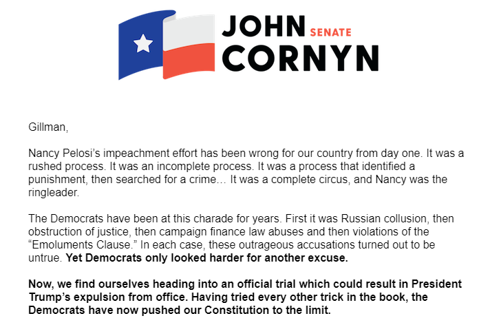 Cornyn campaign email from Jan. 23, 2020
