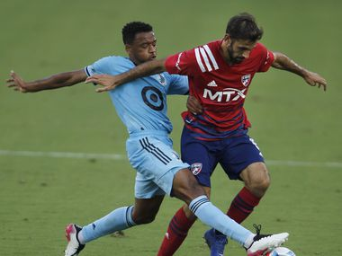 FC Dallas midfielder Facundo Quignon (5), right, tries to maintain ball control as Minnesota United midfielder Jacon Hayes (5), challenges defensively during first half play. The two teams played their MLS match at Toyota Stadium in Frisco on June 19, 2021.