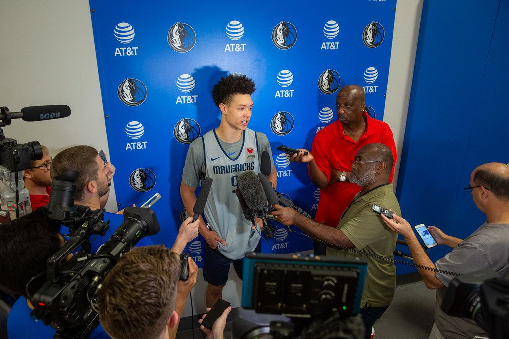 Dallas Mavericks draft pick and forward Isaiah Roby speaks to reporters after basketball practice at the Mavericks Training Center in Dallas on Tuesday, July 2, 2019. (Lynda M. Gonzalez/The Dallas Morning News)