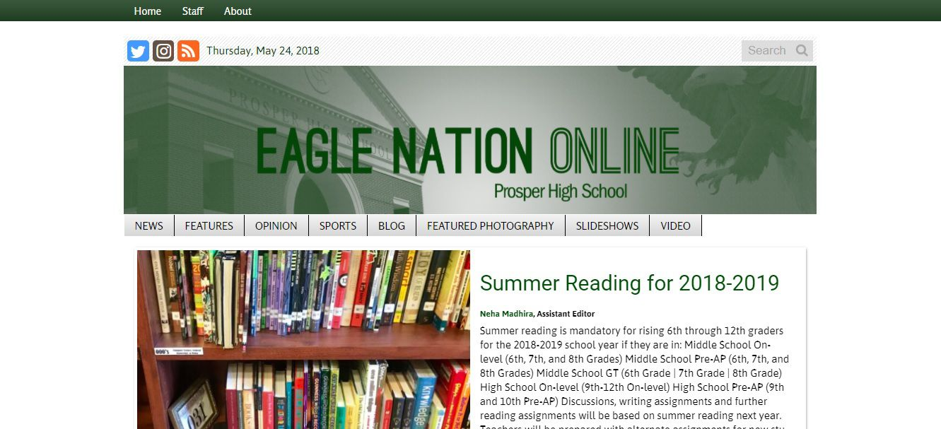 This a screen shot of Prosper High School's student newspaper Eagle Nation Online taken on Thursday.