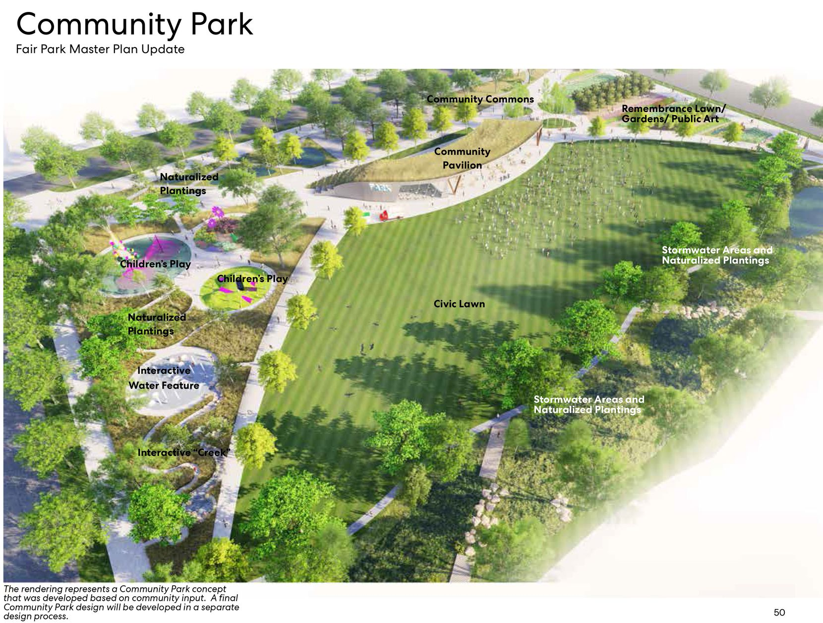 A conceptual rendering from the Fair Park Master Plan Update, as presented to the Dallas Park Board in June 2020, shows an idea for a Community Park that would replace acres of concrete on the park's southeast side, along Fitzhugh bordering the residential neighborhood. A final Community Park design will be developed in a separate design process.