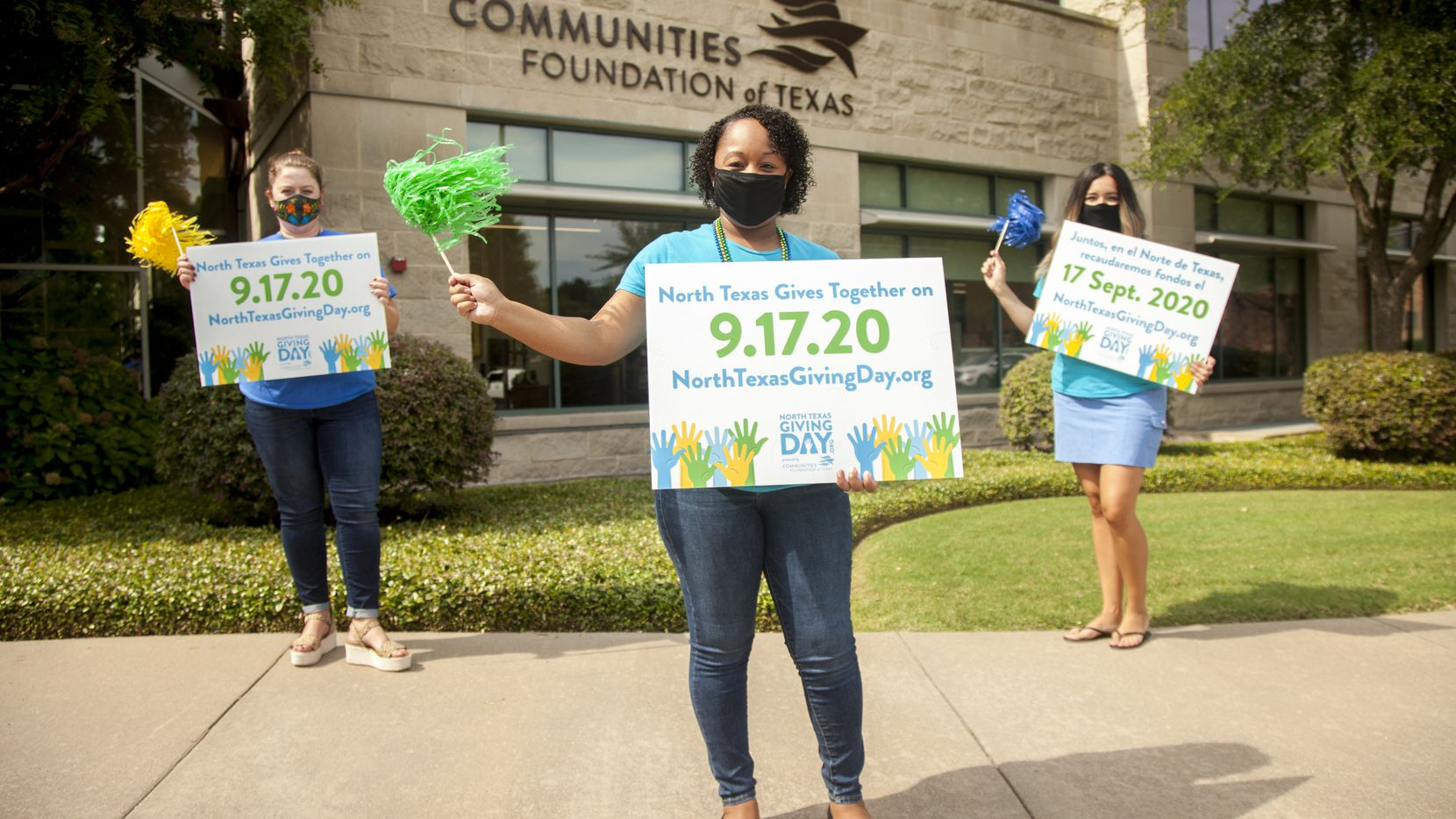 Communities Foundation of Texas' Lisa Causey (from left), Morgan Spann and Erica Lopez are revved up and ready for North Texas Giving Day. The event provides crucial funding and helps replenish pandemic-depleted resources for thousands of Dallas-Fort Worth nonprofits.