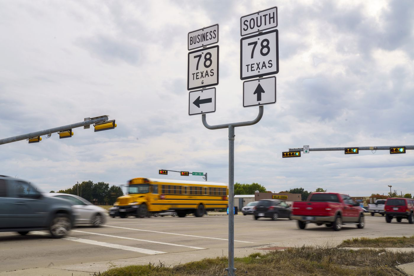 Traffic passes through the intersection of State Highway 78 at Lake Road near where four students from Community ISD in southeastern Collin County were killed in a two-vehicle crash Tuesday on Wednesday, Nov. 6, 2019, in Lavon, Texas.