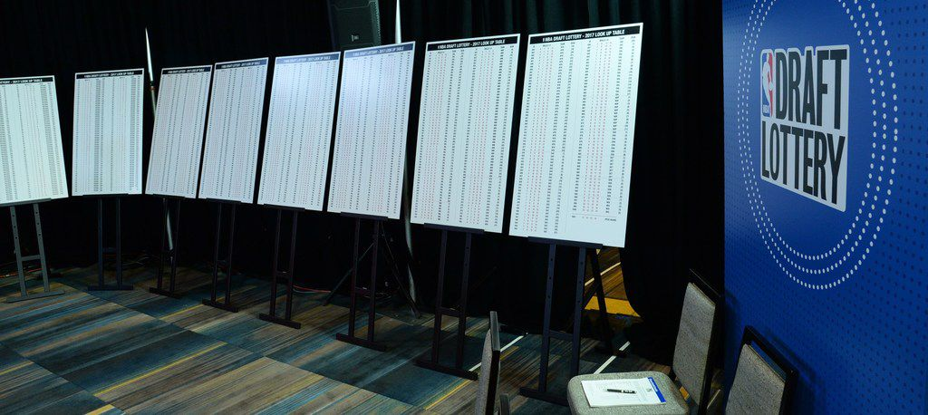 A look inside the back room at the NBA draft lottery, where presentation boards display all 1,000 possible number combinations in the lottery.