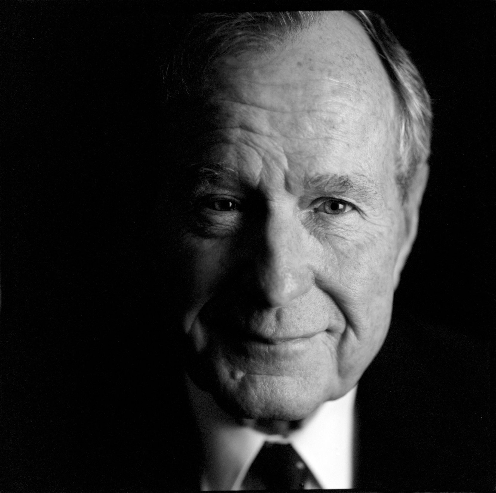 Former President George H. W. Bush in 2002 at the George Bush Presidential Library and Museum in College Station, Texas.
