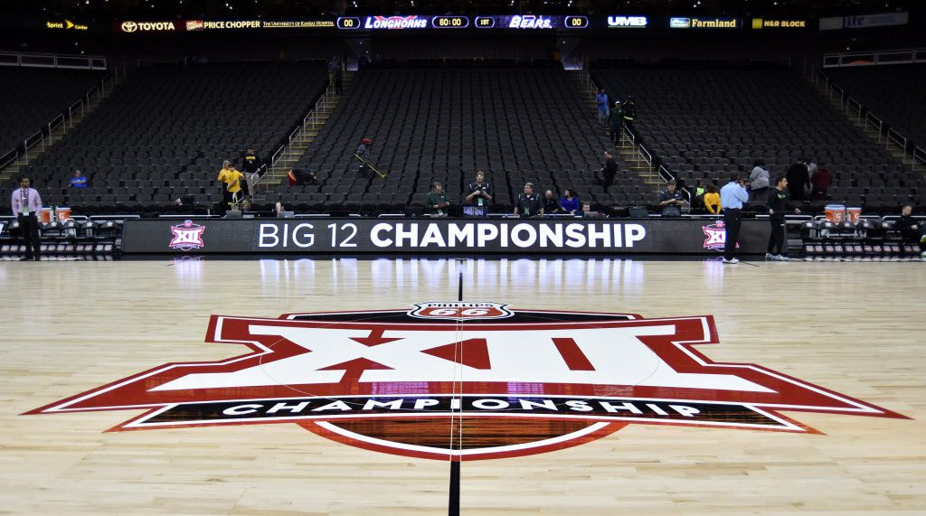Mar 10, 2016; Kansas City, MO, USA; A general view of the logo center court before the game between the Baylor Bears and Texas Longhorns during the Big 12 Conference tournament at Sprint Center. (Denny Medley-USA TODAY Sports)