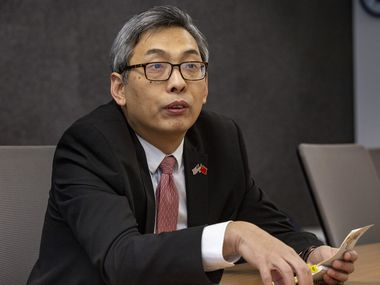 Consul General Cai Wei speaks with reporters and editors at The Dallas Morning News office in downtown Dallas on Wednesday, Feb. 12, 2020. (Lynda M. Gonzalez/The Dallas Morning News)