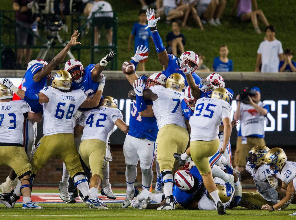 An extra point attempt by Tulsa Golden Hurricane place kicker Jacob Rainey (95) during the second quarter of an NCAA football game between Tulsa and SMU on Saturday, October 5, 2019 at Ford Stadium on the SMU campus in Dallas. (Ashley Landis/The Dallas Morning News)