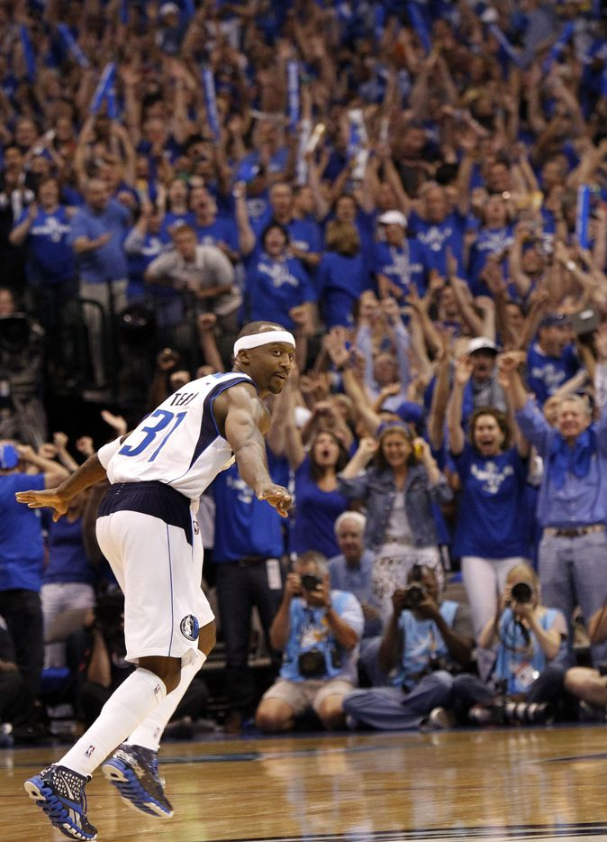 Dallas Mavericks shooting guard Jason Terry (31) celebrates hitting a clutch three at the end of the game during the fourth quarter of play in game five of the NBA Finals against the Miami Heat at American Airlines Center Thursday, June 9, 2011 in Dallas. The Mavericks won 112-103 to take a 3-2 lead in the series. (Louis DeLuca/The Dallas Morning News)MANDATORY CREDIT, NO SALES, MAGS OUT, TV OUT, INTERNET USE BY AP MEMBERS ONLY 06102011xNEWS